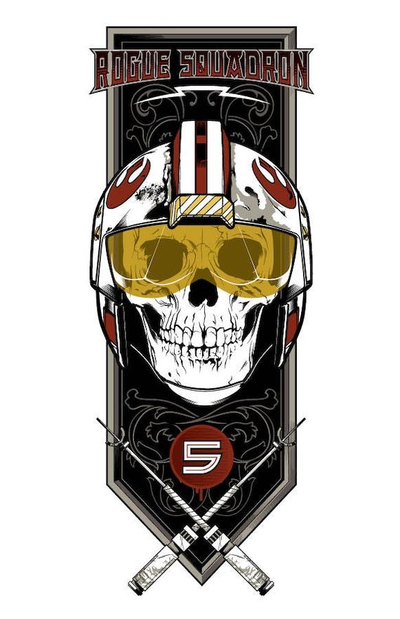 Autocollant Sticker Decal Star Wars Rogue Squadron Skull Film Laptop LSS048