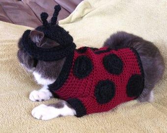 Crochet Cat Costume- Ladybug