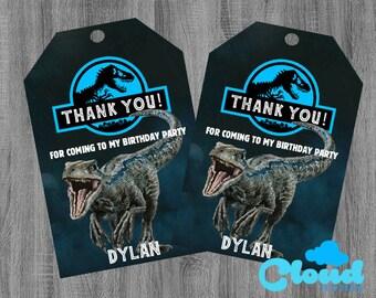 Jurassic World Fallen Kingdom Thank You Tags Favor Birthday Party FavorsDinosaur