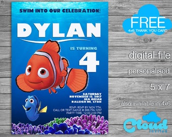 Finding Nemo Birthday Invitation Party Printabes Digital Card Invites