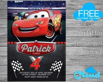 Cars Invitation Birthday Party Lightning McQueen InvitationBirthday Printables Digital