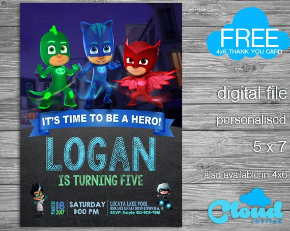 PJ Masks Pj Mask Invitation Birthday