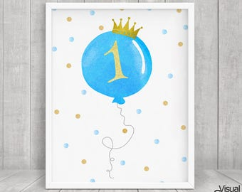 First Birthday Sign, Birthday board, 1st Birthday, Birthday Printable Poster, Instant Download, Blue Balloon Number One, BB016