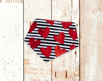 Hearts /& Stripes Embroidered Valentines Day Bandana for Dogs and Cats