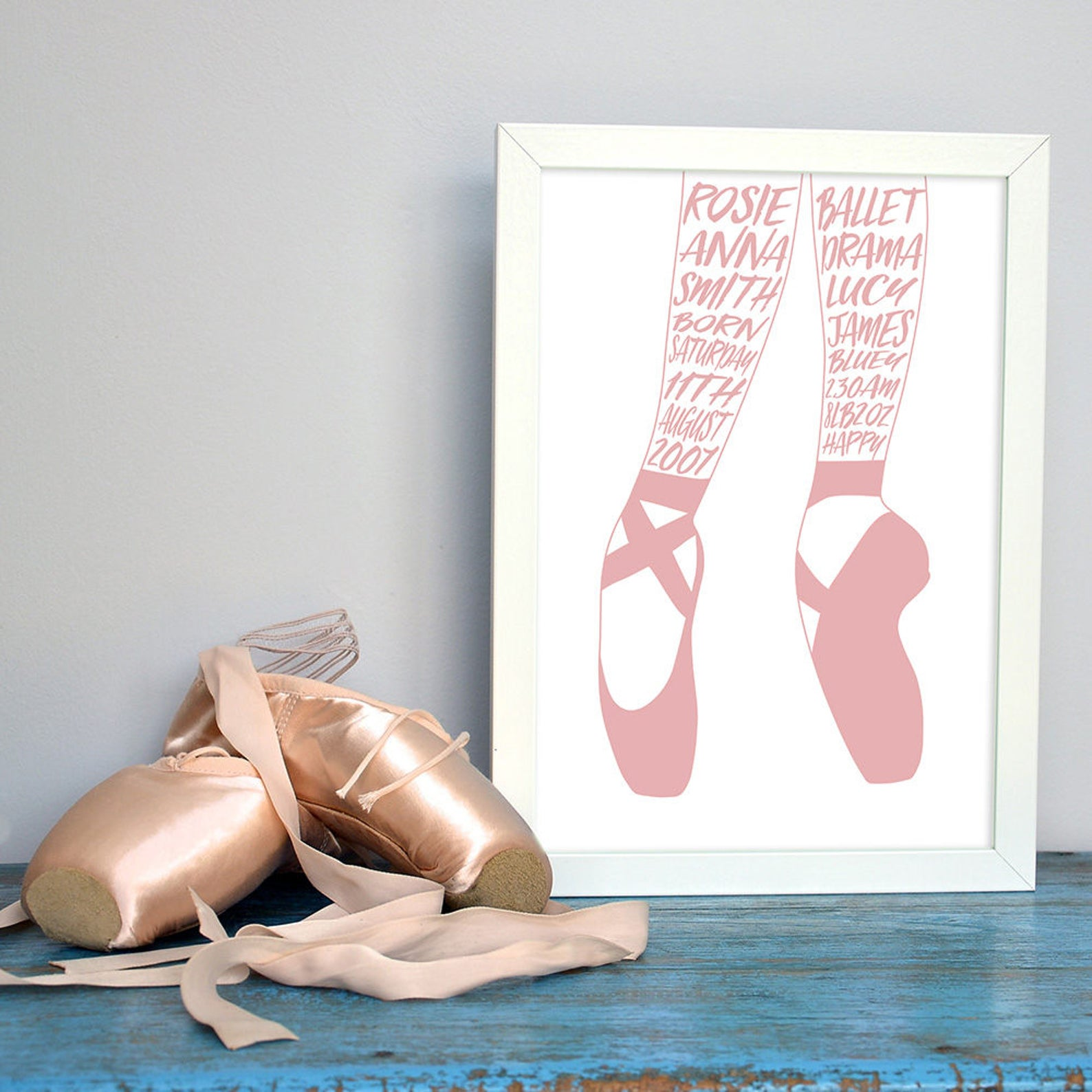 ballet shoes personalised word art print or canvas, ballet customised typographic print, ballet shoes, birthday, boy, girl, teen