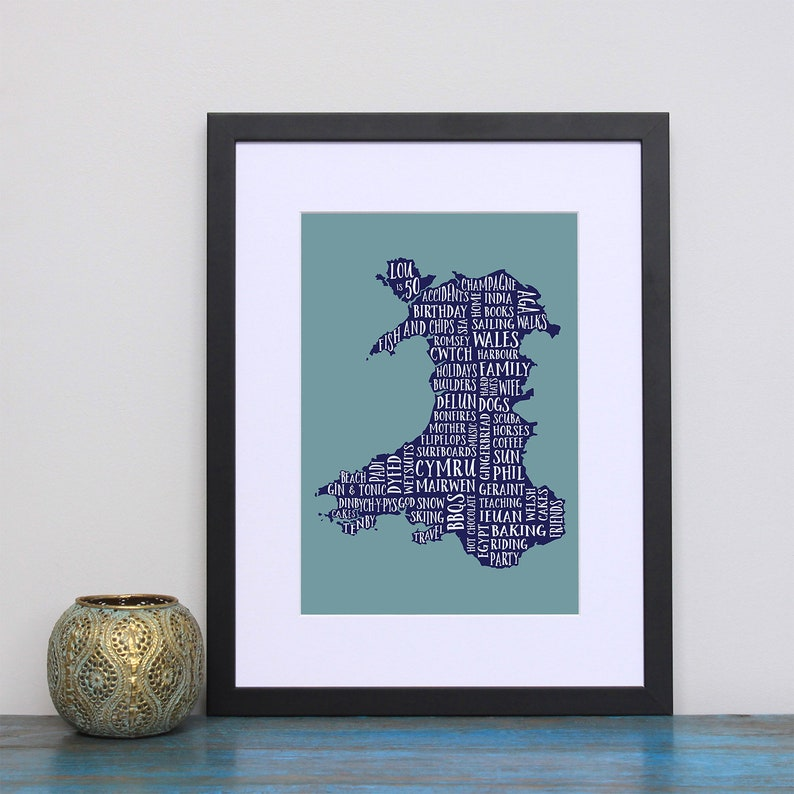 Welsh Word Art Personalised Wales Word Art Map Add All Your Own Words