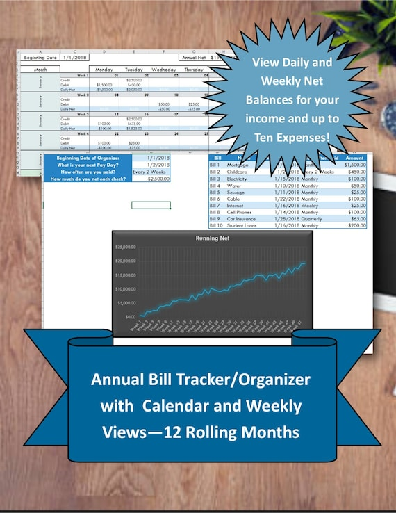 Bill Tracker Instant Download Excel Bill Organizer Template Financial Planner Excel Pay Planner Money Management Household Finances