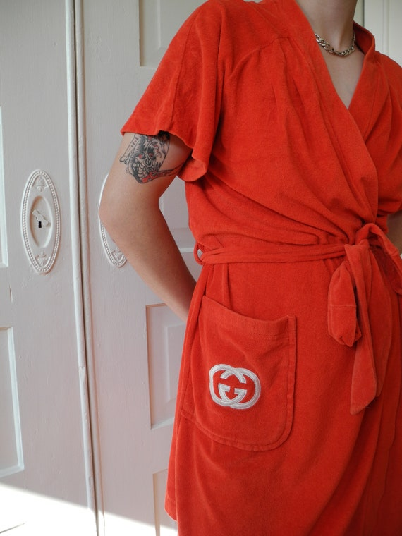 Vintage Gucci Mini Robe | Red Terry | One Size Fi… - image 2
