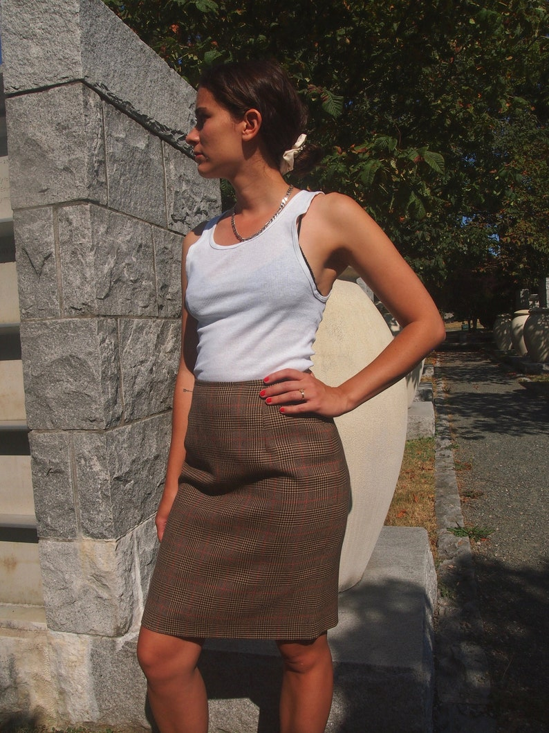 Vintage Houndstooth Plaid Wool Skirt.