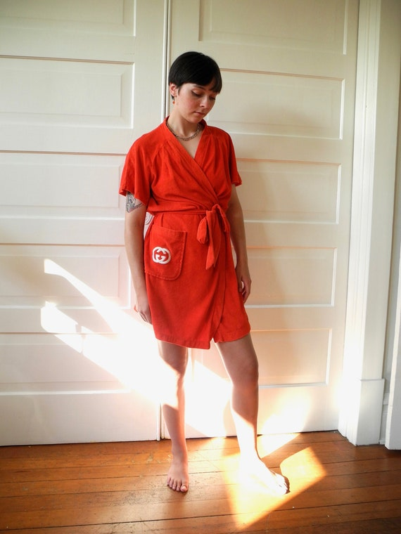 Vintage Gucci Mini Robe | Red Terry | One Size Fi… - image 1