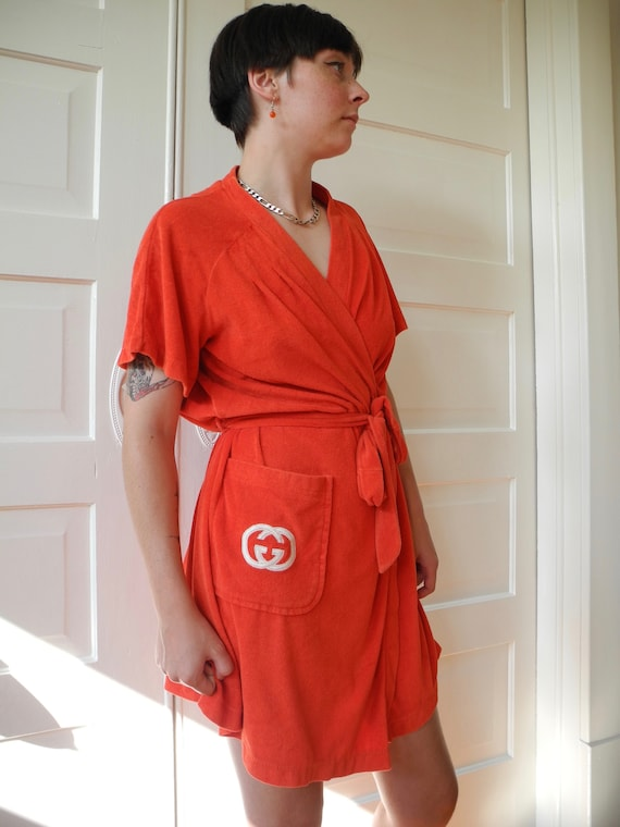 Vintage Gucci Mini Robe | Red Terry | One Size Fi… - image 9
