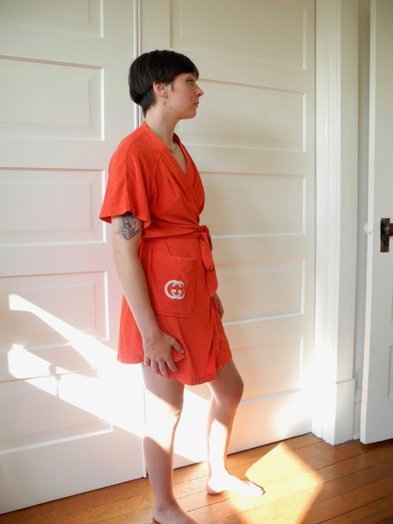 Vintage Gucci Mini Robe | Red Terry | One Size Fi… - image 5