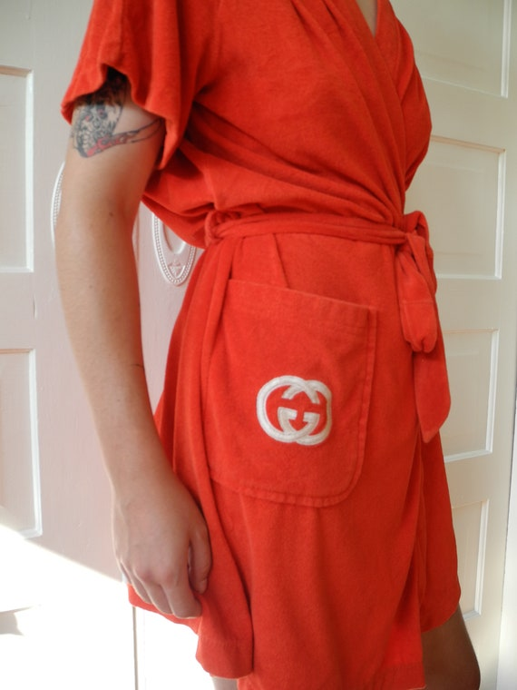 Vintage Gucci Mini Robe | Red Terry | One Size Fi… - image 3
