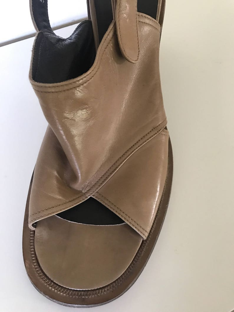 Vintage Taupe Italian Leather Chunky Leather Sole and Heel Sling Back Sandals with round buckles Size 38