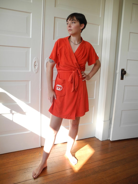 Vintage Gucci Mini Robe | Red Terry | One Size Fi… - image 4