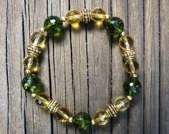 Citrine yellow and green bracelet / gemstone bracelet/ yoga chakra boho bracelet / meditation bracelet / gift for her or for him