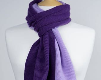Lilac and Purple 2 colour Lambswool Scarf