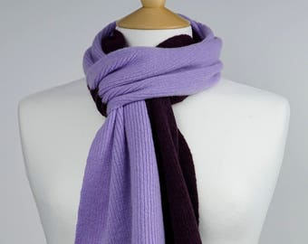 Lilac and Blackgrape 2 colour Lambswool Scarf