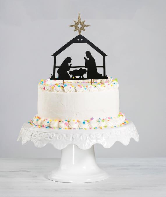 Happy Birthday Jesus Cake Topper Nativity Manager Etsy