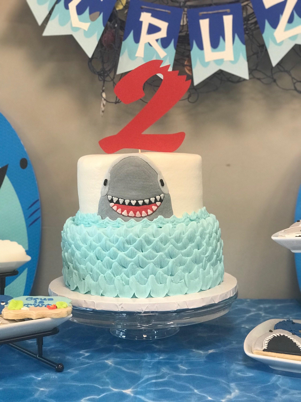 Shark Bite Cake Topper Number 0 1 2 3 4 5 6 7 8 9 Birthday