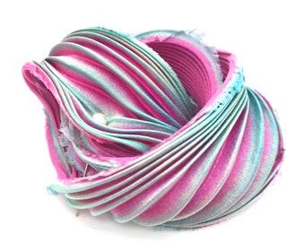 pinkyellow non toxic- Combine postage. Silk shibori ribbon- colour 59 -20 cms- Hand dyed