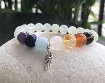 Seven Chakra with Moonstone Bracelet, Gemstone Bracelet, Natural Stone Bracelets, Energy Bracelet.