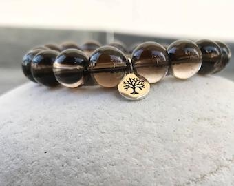 Smoky Quartz Bracelet, Gemstone Bracelet, Natural Stone Bracelets, Healing Bracelet, Energy Bracelet, Root Chakra, Gift.