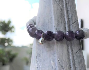 Amethyst & Howlite Bracelet, Gemstone Bracelet, Natural Stone Bracelets, Healing Bracelet, Energy Bracelet, Crown Chakra, Gift.
