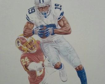 5a668886a Dallas Cowboys Art. Limited edition fine art print. AMARI COOPER. (A3) -  17in x 13in (43cm x 32cm). Football, Cowboys fan gift, #DC4L