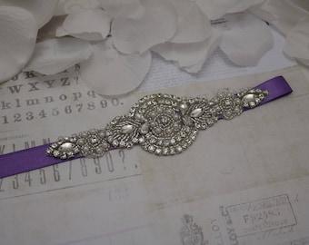 Purple belt, wedding belt,  purple bridesmaid belt, flower girl belt, bridesmaid sash, wedding sash, crystal rhinestone belt