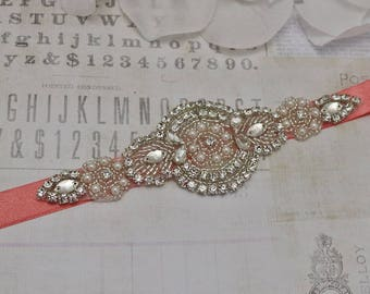 coral belt, flower girl belt, bridesmaid belt, wedding sash, sash belt, crystal rhinestone belt, dress belt