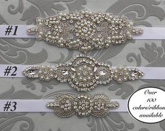 Flower Girl Sash, Bridesmaid Belt,  Bridesmaid Sash, Wedding Sash Belt, bridesmaid gift, Crystal and pearl belt