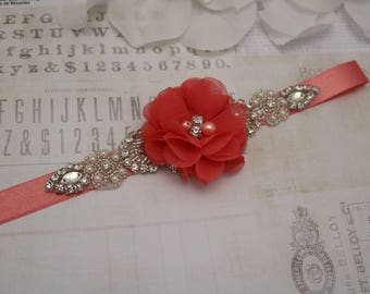 Wedding belt- coral belt, flower girl belt, bridesmaid belt, wedding sash, sash belt, crystal rhinestone belt, dress belt
