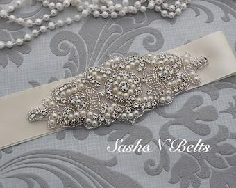 Wedding belt, beaded  belt, bridal belt, ivory bridal  belt, ivory flower girl sash, belt sash, bridesmaid belt , crystal belt, dress belt