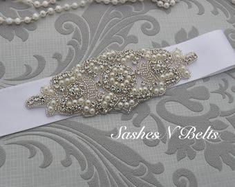 Wedding belt, bridal belt, beaded belt, white bridal belt, bridesmaid belt, wedding sash, crystal rhinestone belt, dress belt