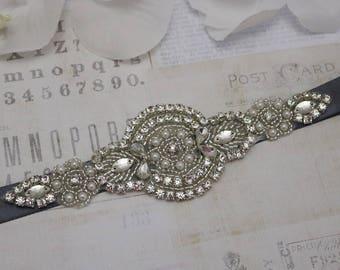 Grey belt, wedding belt, bridesmaid belt, flower girl belt, bridesmaid sash, wedding sash, crystal and pearl belt, dress belt