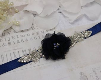 Wedding belt- Navy belt, flower girl belt, bridal belt, bridesmaid belt,  wedding sash, sash belt, crystal rhinestone belt, dress belt