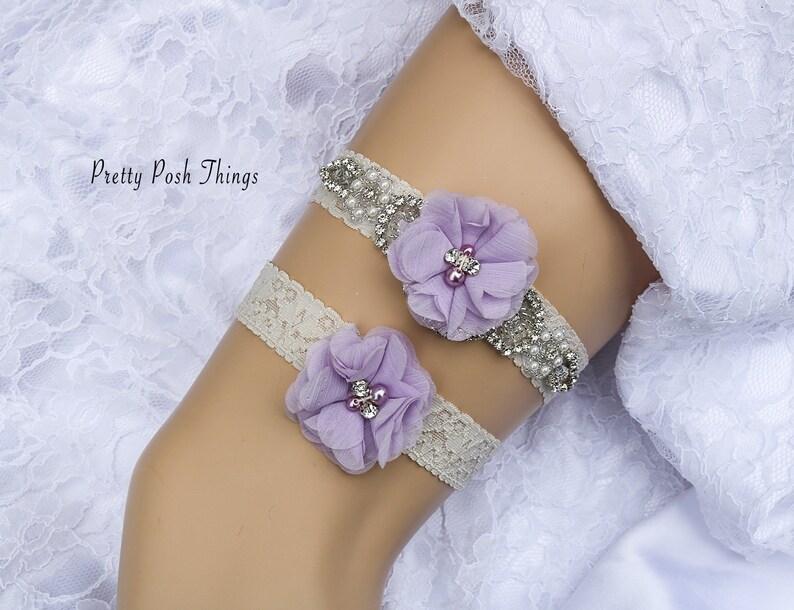 54b2f767894 Lilac Garter Set Wedding Garter Belt Flower Garter Set
