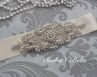 Bridal belt, cream wedding belt, cream belt sash, bridesmaid belt, wedding belt, crystal rhinestone belt, dress belt