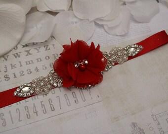 Red flower girl  belt, flower girl sash,  red belt sash, bridesmaid belt, wedding sash, sash belt, crystal rhinestone belt, dress belt