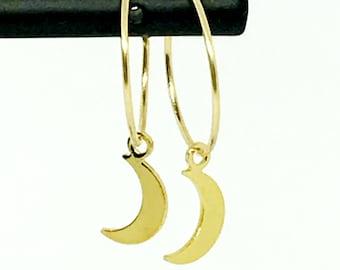 LUNA Moon gold plated rings hoop earrings