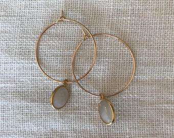 Gold 3 microns, semi precious Opal Opal rings hoop earrings