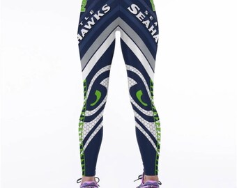SEATTLE SEAHAWKS LEGGINGS!! Seattle Seahawk Leggings. Seahawk Football / Fitness Tights / Dance Pants. Seahawk Yoga Pants.