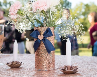 Rose gold sequins vase centerpiece