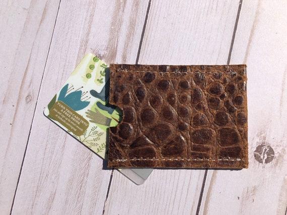 Cuir véritable alligator brun cuir embossé porte carte pochette/carte d'identité, carte-cadeau ou carte de crédit porte carte en cuir pochette en cuir