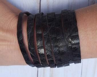 Leather Bracelet Genuine Brown Gator Embossed Leather Bracelet Handmade Cuff Leather Boho Leather Cuff Multi Strand Leather Bracelet