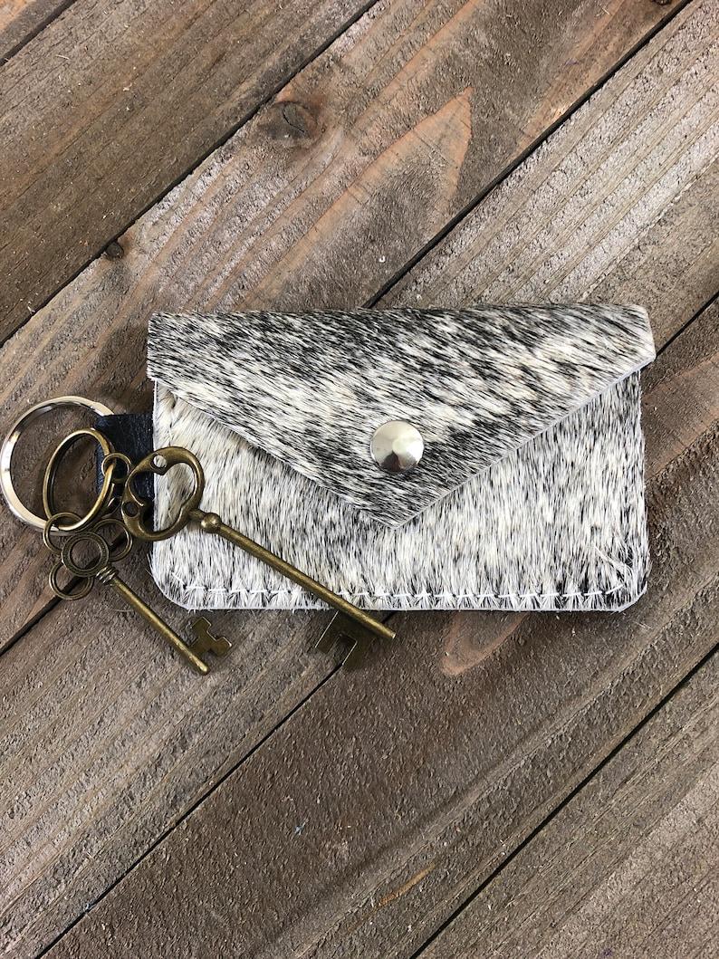 Handmade Leather Card Keychain Hair on Hide Leather Business Card Keychain Genuine Hair on Hide Coin Purse Keychain