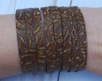 Western Sytle Leather Bracelet Genuine Brown Leather Bracelet Handmade Cuff Leather Bracelet Boho Leather Cuff Multi Strand Leather Bracelet