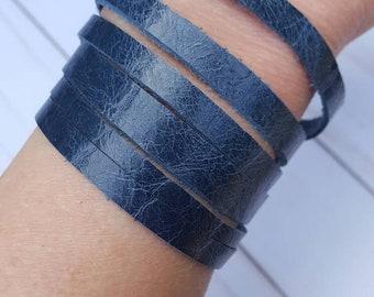 Boho Leather Bracelet Genuine Blue Leather Bracelet Handmade Cuff Leather Bracelet Boho Leather Cuff