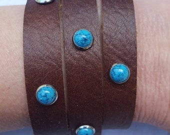 Brown and Turquoise Bracelet Genuine Brown Leather Bracelet Handmade Cuff Leather Bracelet with Turquoise Color Accent Studs Leather Cuff